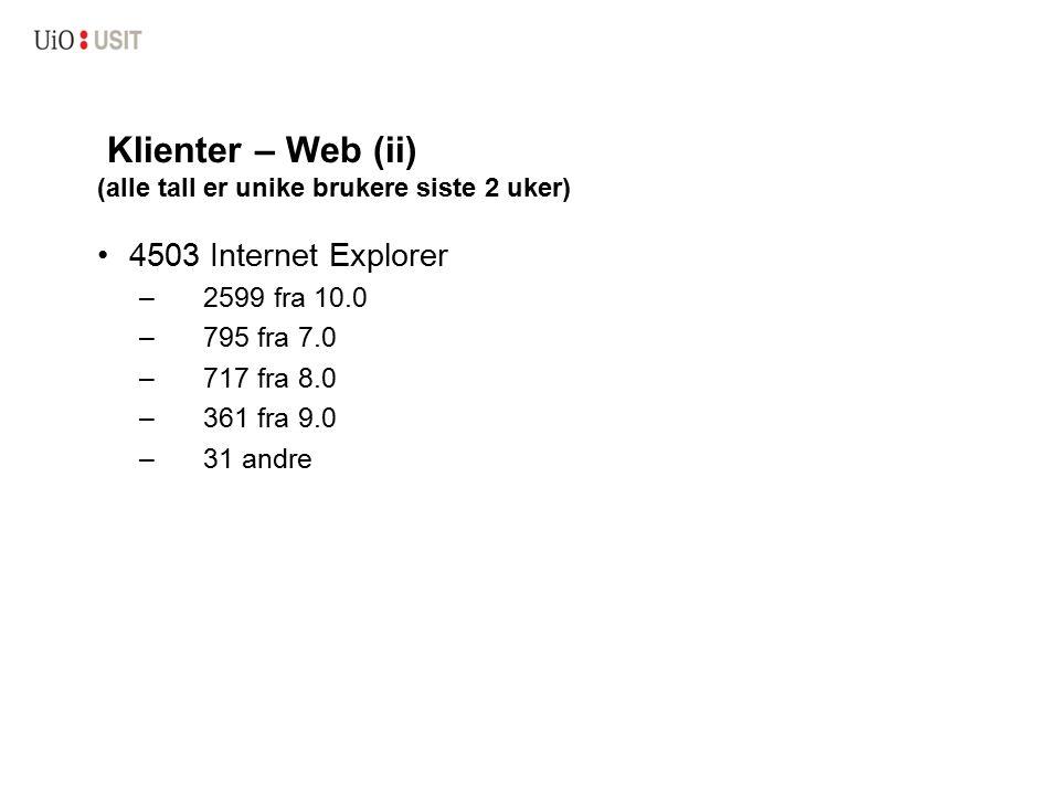 Klienter – Web (ii) (alle tall er unike brukere siste 2 uker) 4503 Internet Explorer –2599 fra 10.0 –795 fra 7.0 –717 fra 8.0 –361 fra 9.0 –31 andre