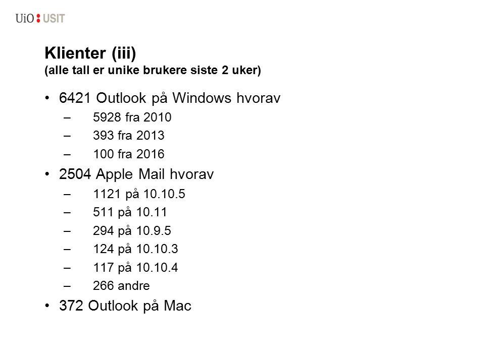 Klienter (iii) (alle tall er unike brukere siste 2 uker) 6421 Outlook på Windows hvorav –5928 fra 2010 –393 fra 2013 –100 fra 2016 2504 Apple Mail hvorav –1121 på 10.10.5 –511 på 10.11 –294 på 10.9.5 –124 på 10.10.3 –117 på 10.10.4 –266 andre 372 Outlook på Mac