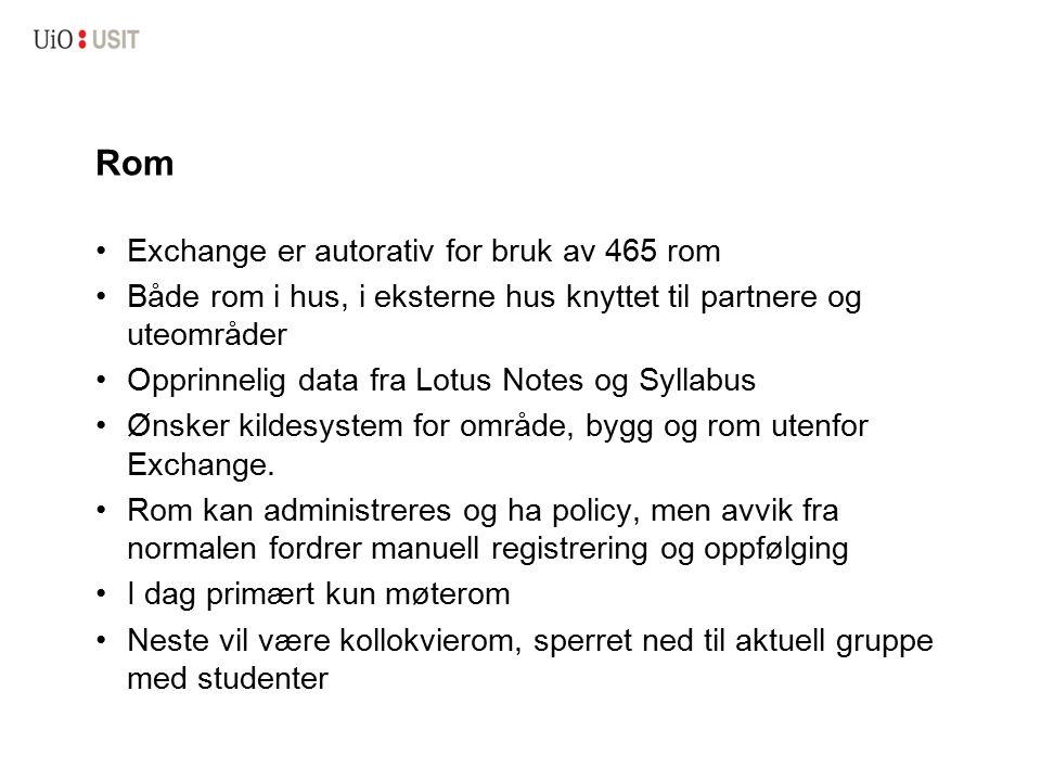 Rom Exchange er autorativ for bruk av 465 rom Både rom i hus, i eksterne hus knyttet til partnere og uteområder Opprinnelig data fra Lotus Notes og Sy