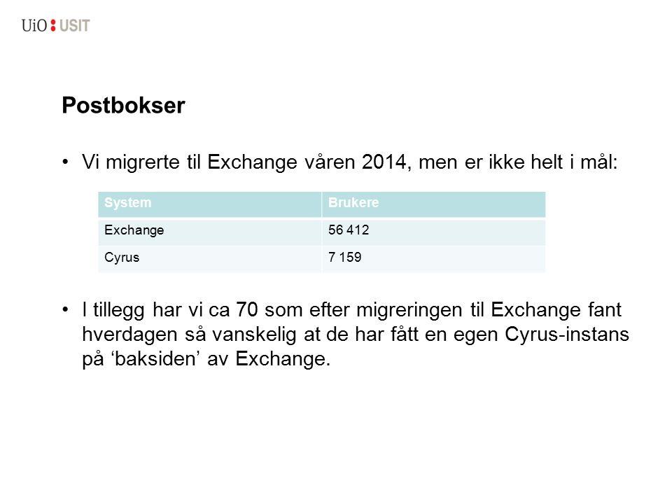 Postbokser Vi migrerte til Exchange våren 2014, men er ikke helt i mål: I tillegg har vi ca 70 som efter migreringen til Exchange fant hverdagen så va