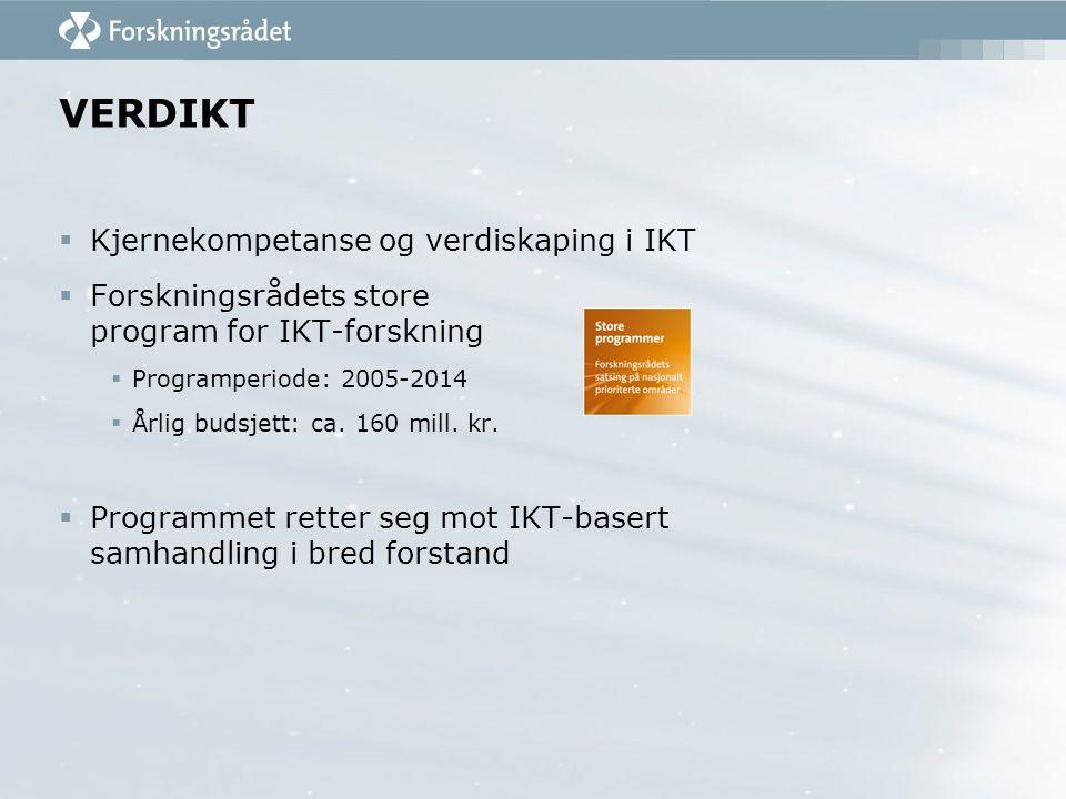 VERDIKT  Kjernekompetanse og verdiskaping i IKT  Forskningsrådets store program for IKT-forskning  Programperiode: 2005-2014  Årlig budsjett: ca.