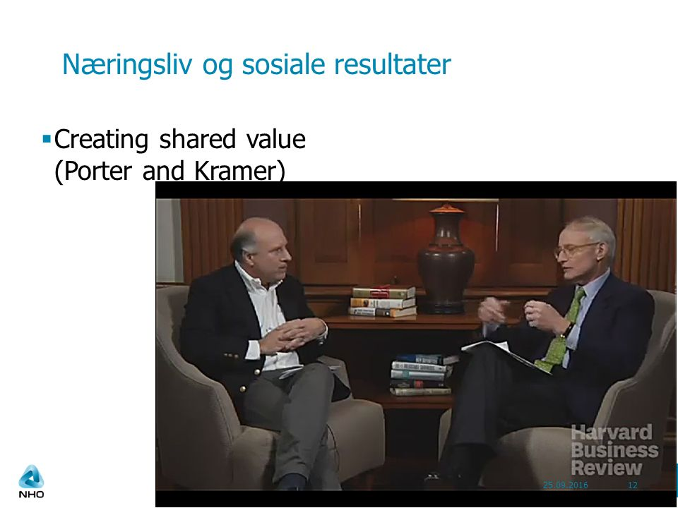 Næringsliv og sosiale resultater  Creating shared value (Porter and Kramer) 25.09.201612