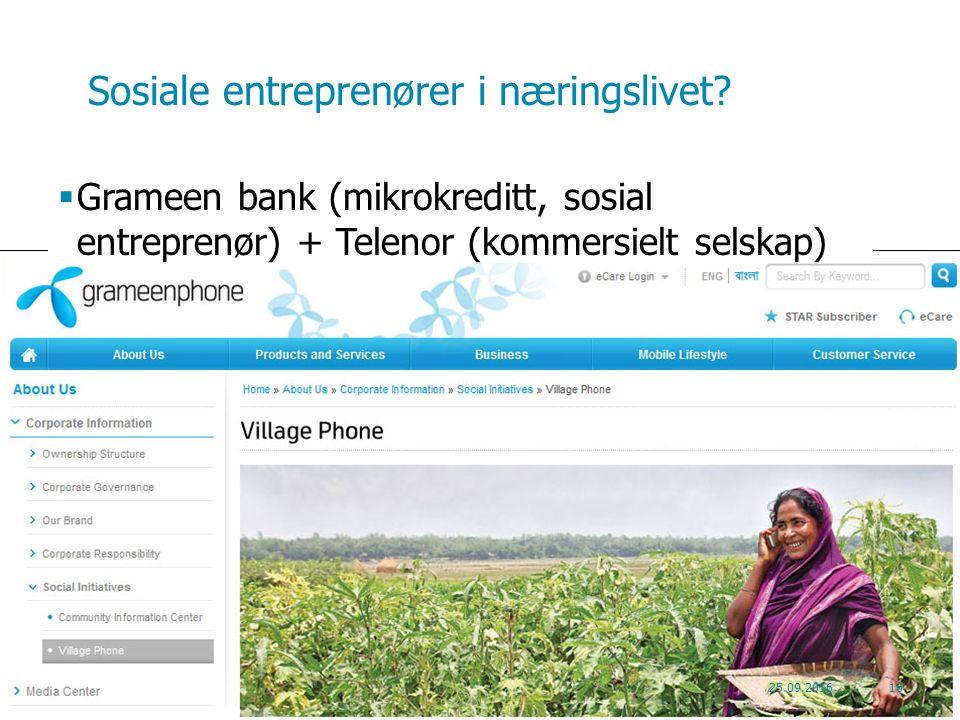 Sosiale entreprenører i næringslivet.