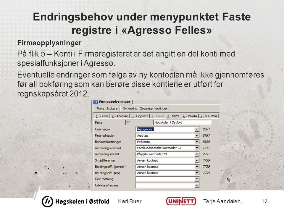 Endringsbehov under menypunktet Faste registre i «Agresso Felles» Firmaopplysninger På flik 5 – Konti i Firmaregisteret er det angitt en del konti med spesialfunksjoner i Agresso.
