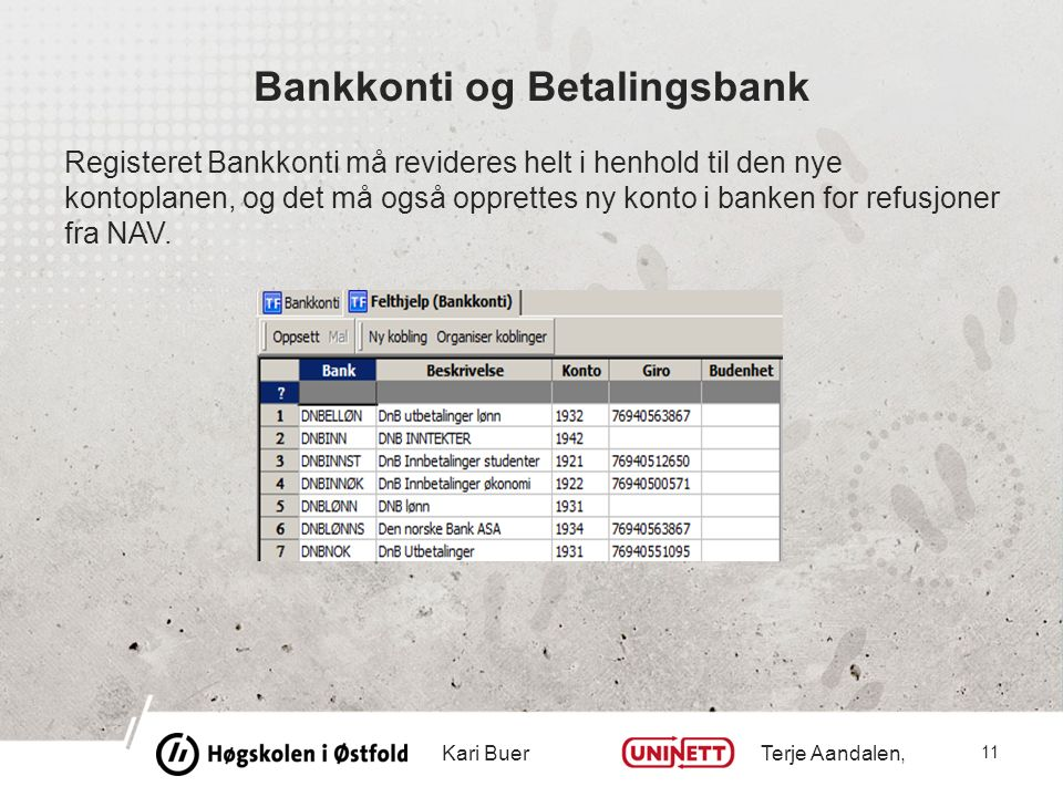 Bankkonti og Betalingsbank Registeret Bankkonti må revideres helt i henhold til den nye kontoplanen, og det må også opprettes ny konto i banken for refusjoner fra NAV.