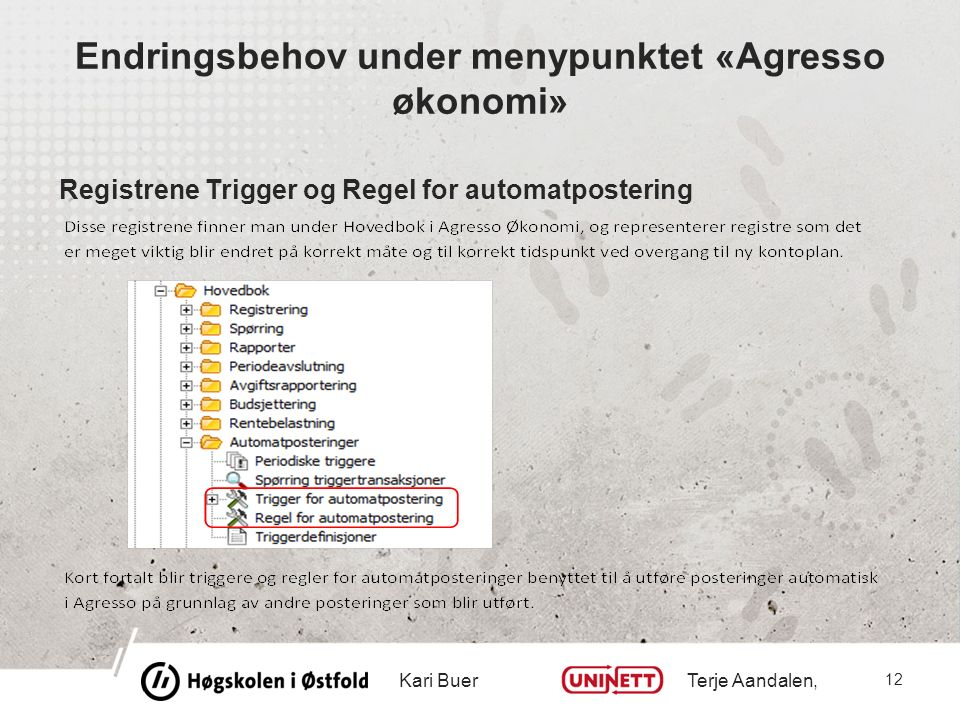Endringsbehov under menypunktet «Agresso økonomi» Registrene Trigger og Regel for automatpostering Kari Buer Terje Aandalen, 12