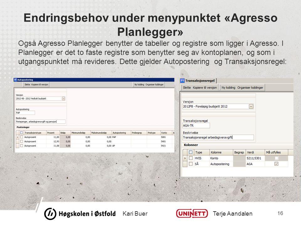 Endringsbehov under menypunktet «Agresso Planlegger» Også Agresso Planlegger benytter de tabeller og registre som ligger i Agresso.