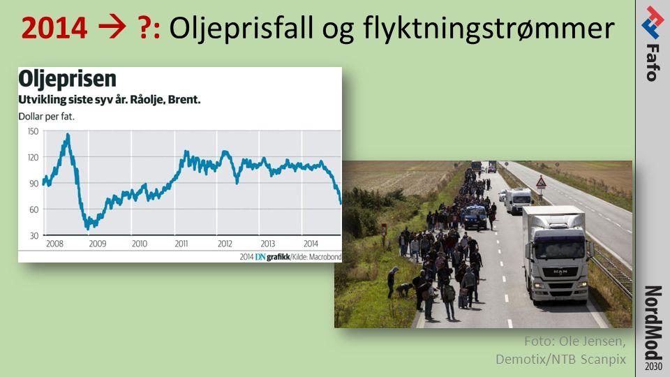 2014  : Oljeprisfall og flyktningstrømmer Foto: Ole Jensen, Demotix/NTB Scanpix