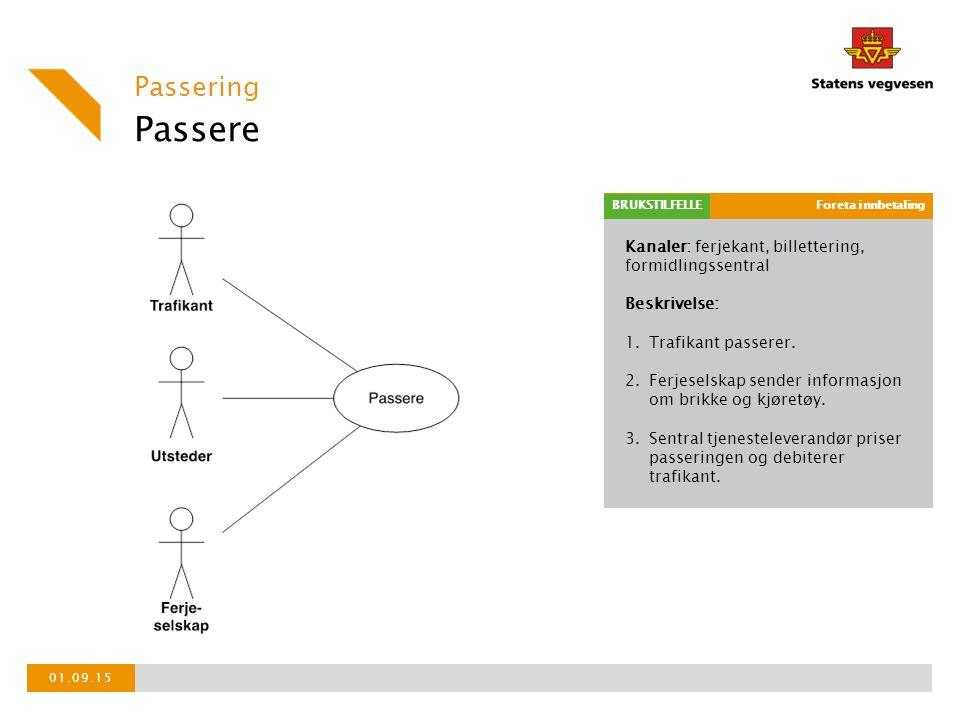 Kanaler: ferjekant, billettering, formidlingssentral Beskrivelse: 1.Trafikant passerer.