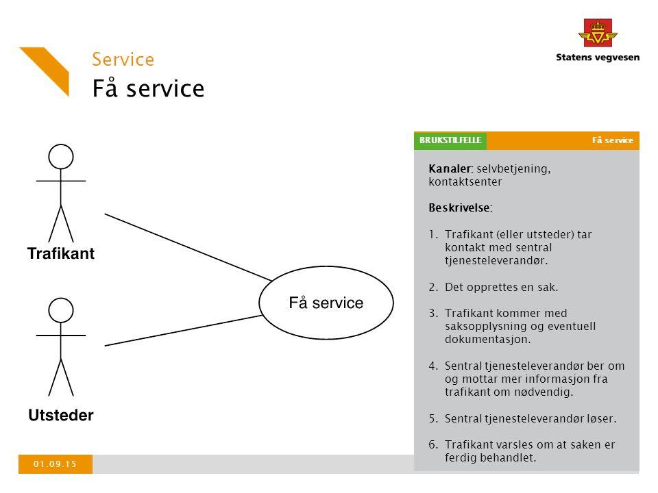Kanaler: selvbetjening, kontaktsenter Beskrivelse: 1.Trafikant (eller utsteder) tar kontakt med sentral tjenesteleverandør.