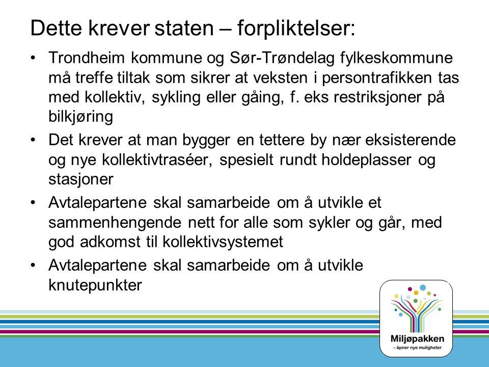 Dette krever staten – forpliktelser: Trondheim kommune og Sør-Trøndelag fylkeskommune må treffe tiltak som sikrer at veksten i persontrafikken tas med kollektiv, sykling eller gåing, f.