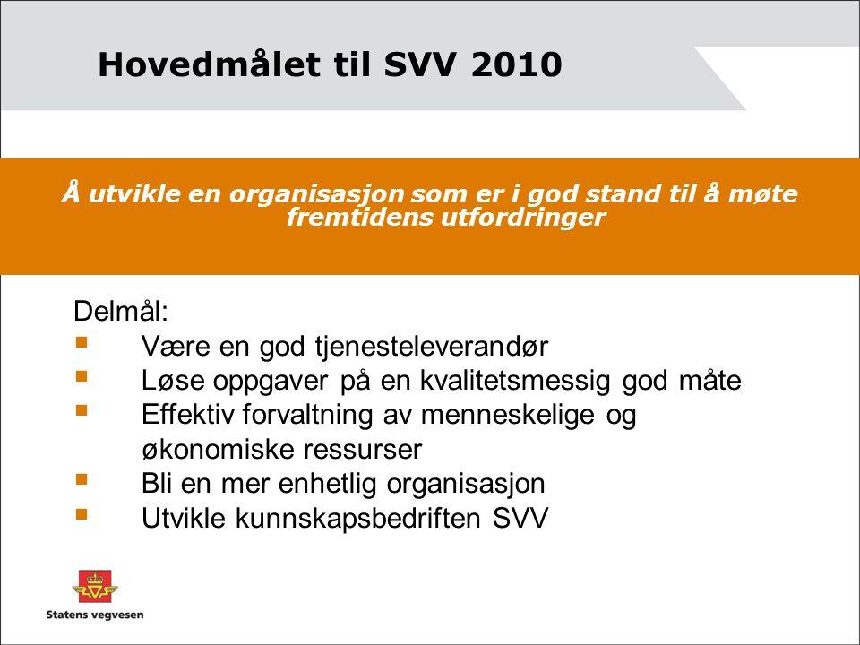 Hovedmålet til SVV 2010 Å utvikle en organisasjon som er i god stand til å møte fremtidens utfordringer Delmål:  Være en god tjenesteleverandør  Løs