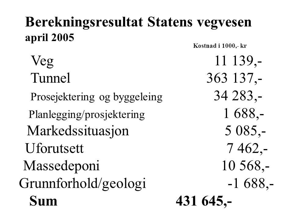 Kostnad i 1000,- kr Veg 11 139,- Tunnel 363 137,- Prosejektering og byggeleing 34 283,- Planlegging/prosjektering 1 688,- Markedssituasjon 5 085,- Uforutsett 7 462,- Massedeponi 10 568,- Grunnforhold/geologi -1 688,- Sum431 645,- Berekningsresultat Statens vegvesen april 2005