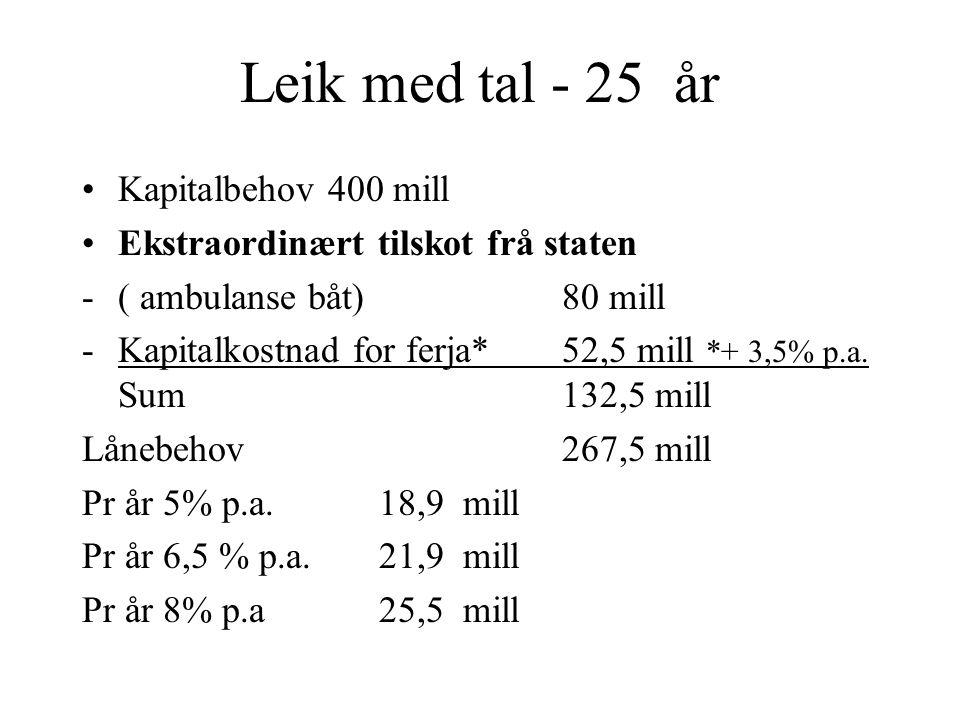 Leik med tal - 25 år Kapitalbehov 400 mill Ekstraordinært tilskot frå staten -( ambulanse båt)80 mill -Kapitalkostnad for ferja*52,5 mill *+ 3,5% p.a.