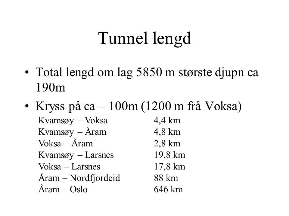 Tunnel lengd Total lengd om lag 5850 m største djupn ca 190m Kryss på ca – 100m (1200 m frå Voksa) Kvamsøy – Voksa 4,4 km Kvamsøy – Åram 4,8 km Voksa – Åram 2,8 km Kvamsøy – Larsnes 19,8 km Voksa – Larsnes 17,8 km Åram – Nordfjordeid 88 km Åram – Oslo 646 km