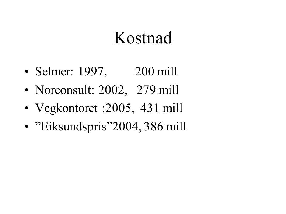 Kostnad Selmer: 1997, 200 mill Norconsult: 2002, 279 mill Vegkontoret :2005, 431 mill Eiksundspris 2004, 386 mill