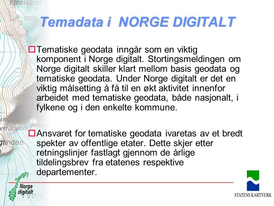 Temadata i NORGE DIGITALT oTematiske geodata inngår som en viktig komponent i Norge digitalt. Stortingsmeldingen om Norge digitalt skiller klart mello