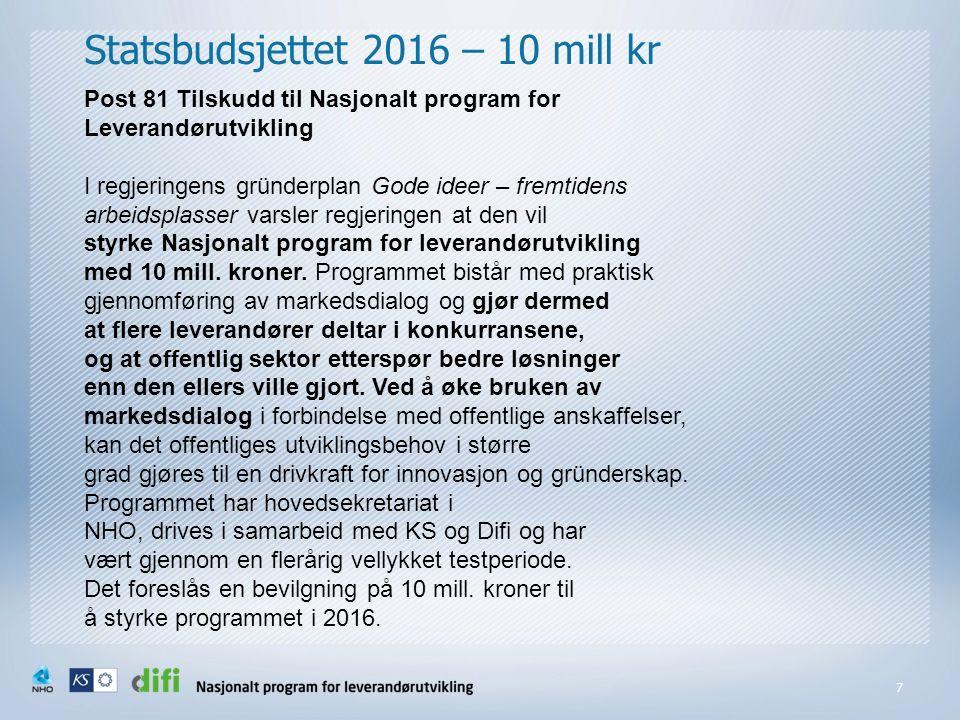 Statsbudsjettet 2016 – 10 mill kr 7 Post 81 Tilskudd til Nasjonalt program for Leverandørutvikling I regjeringens gründerplan Gode ideer – fremtidens