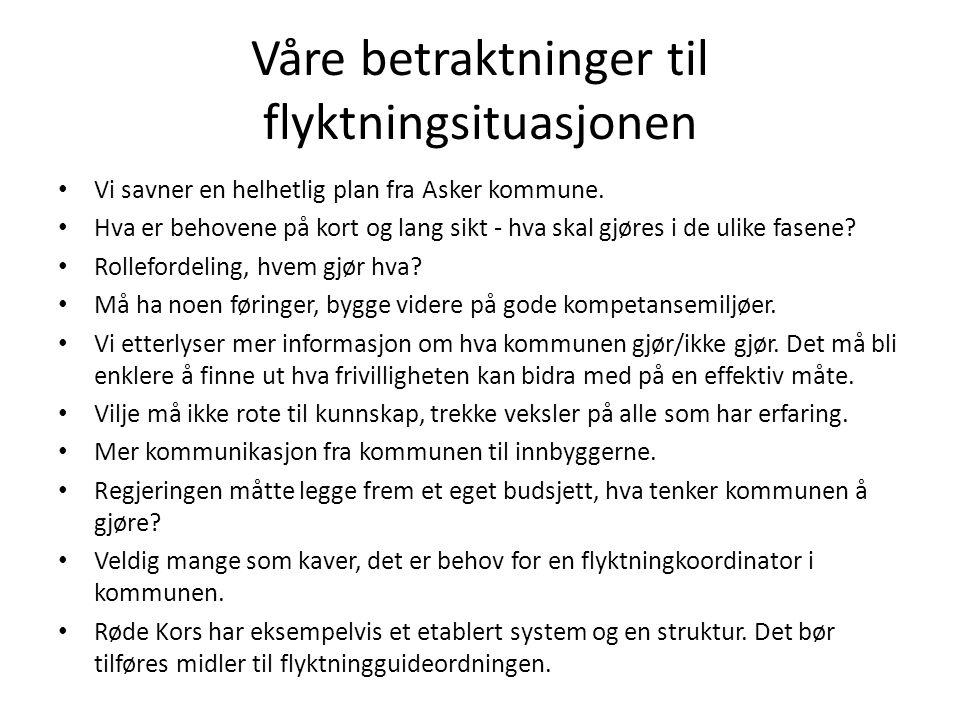 Våre betraktninger til flyktningsituasjonen Vi savner en helhetlig plan fra Asker kommune.