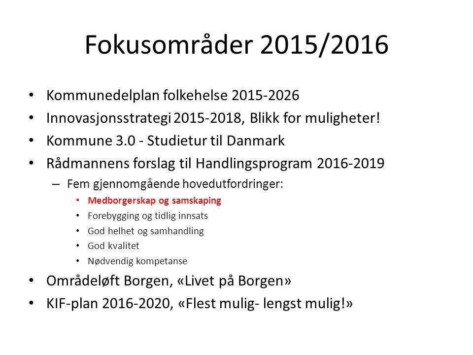 Fokusområder 2015/2016 Kommunedelplan folkehelse 2015-2026 Innovasjonsstrategi 2015-2018, Blikk for muligheter.