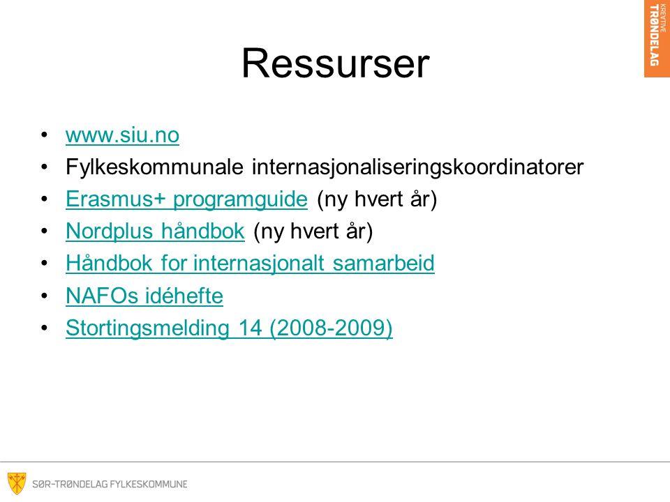 Ressurser www.siu.no Fylkeskommunale internasjonaliseringskoordinatorer Erasmus+ programguide (ny hvert år)Erasmus+ programguide Nordplus håndbok (ny hvert år)Nordplus håndbok Håndbok for internasjonalt samarbeid NAFOs idéhefte Stortingsmelding 14 (2008-2009)