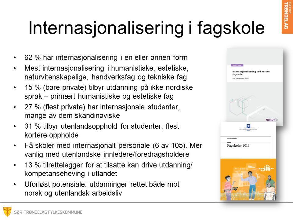 Internasjonalisering i fagskole 62 % har internasjonalisering i en eller annen form Mest internasjonalisering i humanistiske, estetiske, naturvitenskapelige, håndverksfag og tekniske fag 15 % (bare private) tilbyr utdanning på ikke-nordiske språk – primært humanistiske og estetiske fag 27 % (flest private) har internasjonale studenter, mange av dem skandinaviske 31 % tilbyr utenlandsopphold for studenter, flest kortere oppholde Få skoler med internasjonalt personale (6 av 105).