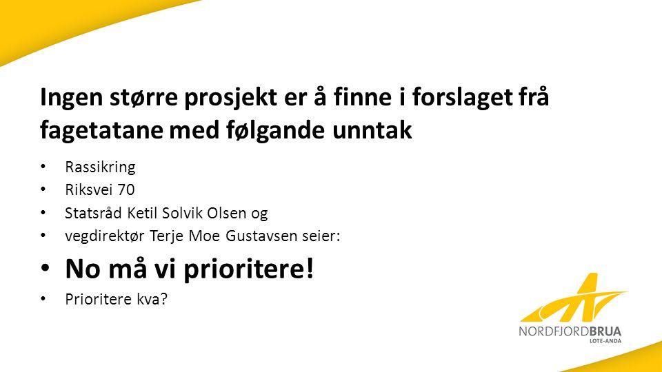 Ingen større prosjekt er å finne i forslaget frå fagetatane med følgande unntak Rassikring Riksvei 70 Statsråd Ketil Solvik Olsen og vegdirektør Terje Moe Gustavsen seier: No må vi prioritere.
