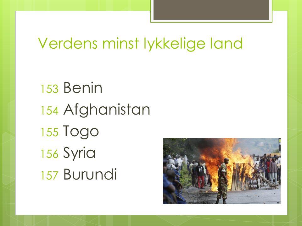 Verdens minst lykkelige land 153 Benin 154 Afghanistan 155 Togo 156 Syria 157 Burundi