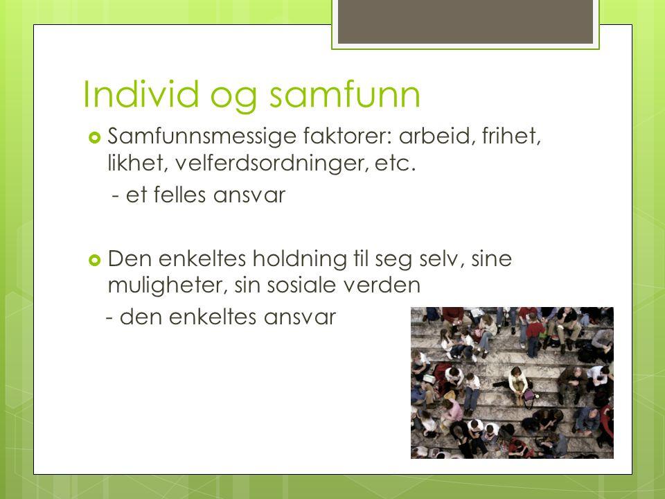 Individ og samfunn  Samfunnsmessige faktorer: arbeid, frihet, likhet, velferdsordninger, etc.