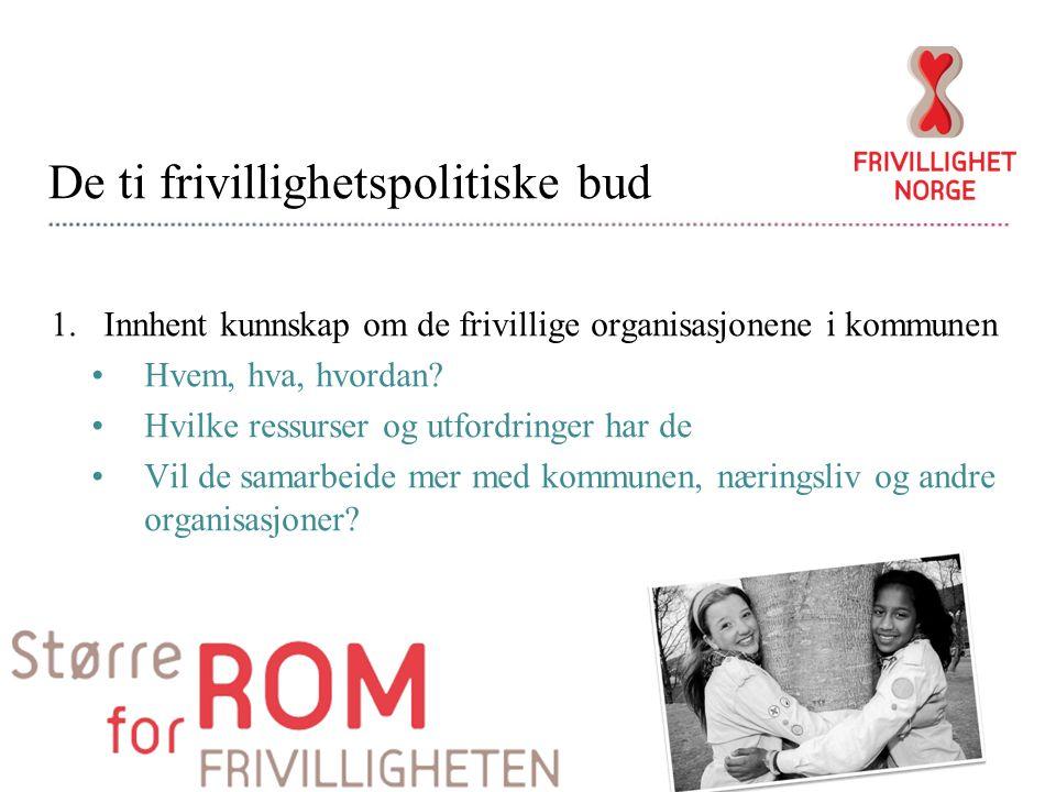 De ti frivillighetspolitiske bud 1.Innhent kunnskap om de frivillige organisasjonene i kommunen Hvem, hva, hvordan.