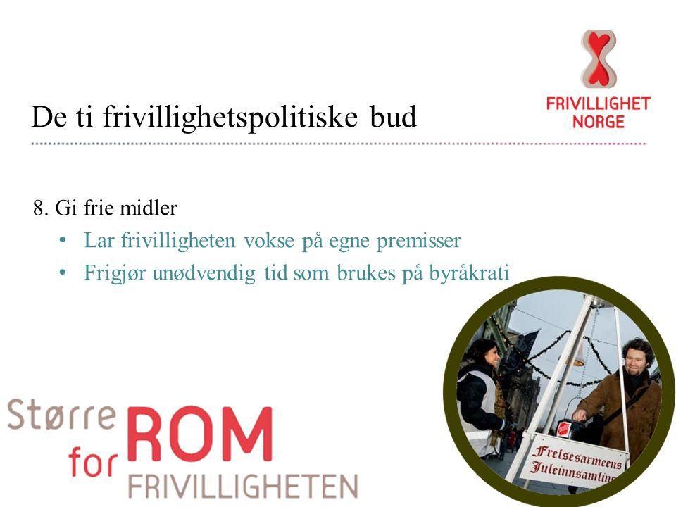 De ti frivillighetspolitiske bud 8.