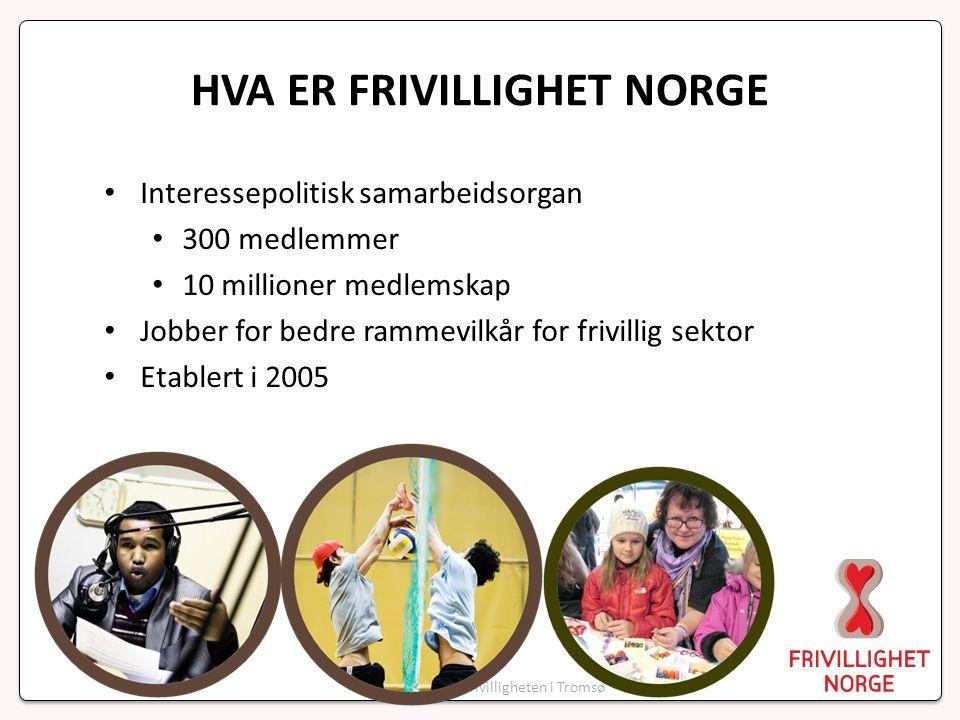 FRIVILLIGHETEN I NORGE 115 000 årsverk 101 milliarder i verdiskapning 79 % av befolkningen er medlem 64 % av befolkningen deltar 36 % av minoritets-befolkningen deltar 80 - 90 000 lag og foreninger