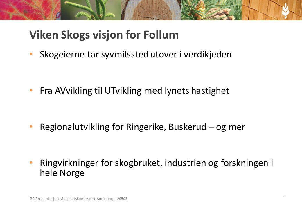 Viken Skogs visjon for Follum Skogeierne tar syvmilssted utover i verdikjeden Fra AVvikling til UTvikling med lynets hastighet Regionalutvikling for Ringerike, Buskerud – og mer Ringvirkninger for skogbruket, industrien og forskningen i hele Norge RB Presentasjon Mulighetskonferanse Sarpsborg 120503