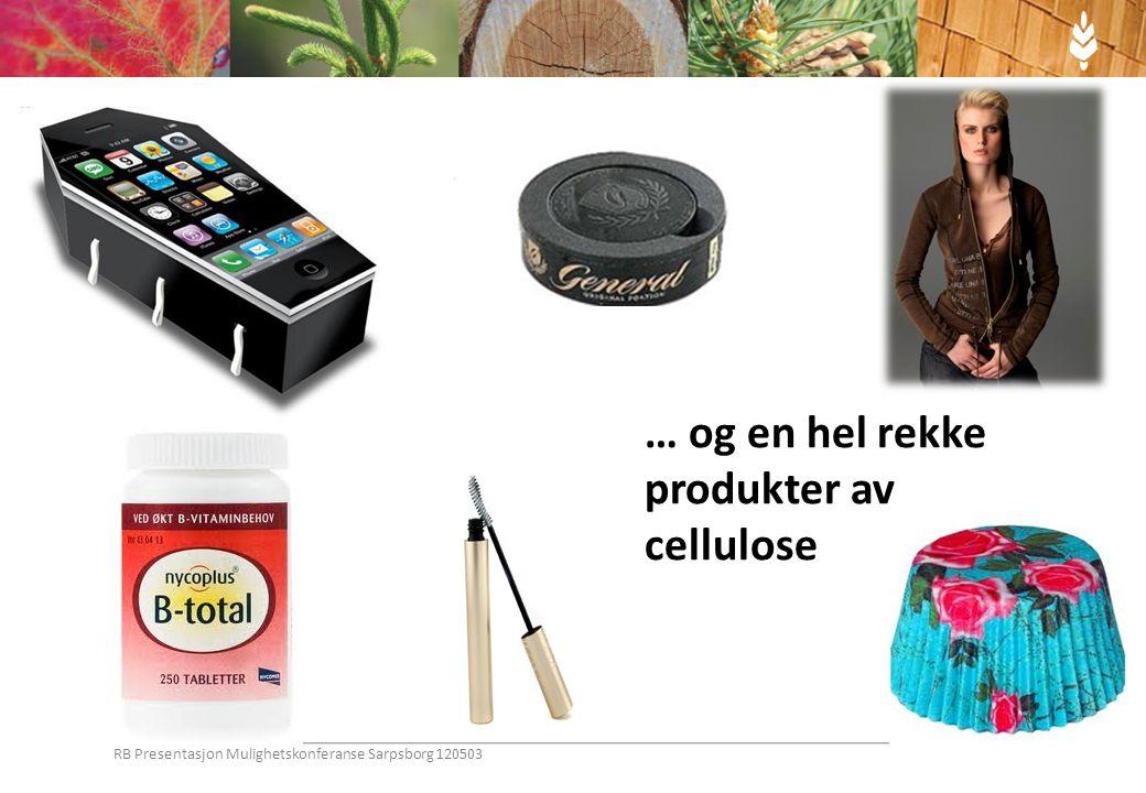 … og en hel rekke produkter av cellulose RB Presentasjon Mulighetskonferanse Sarpsborg 120503