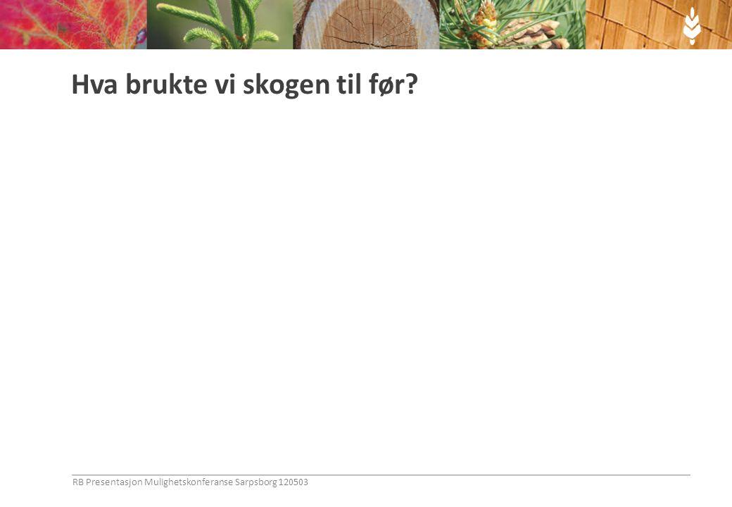 Hva brukte vi skogen til før? RB Presentasjon Mulighetskonferanse Sarpsborg 120503