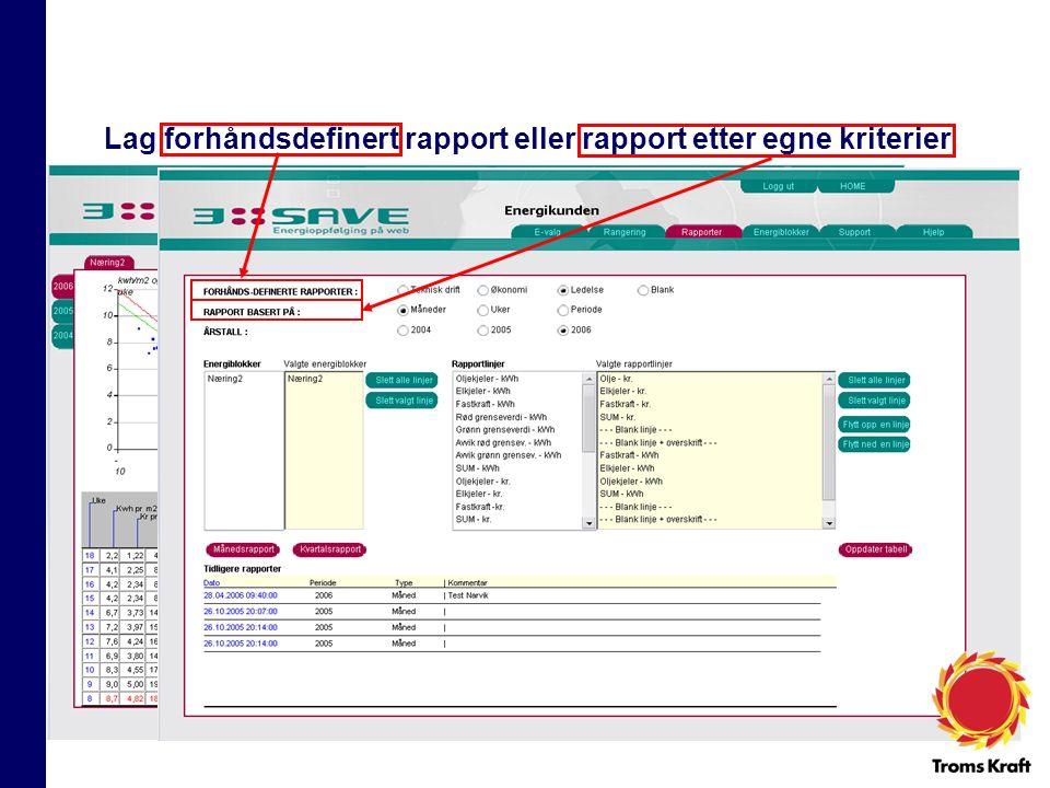 Lag forhåndsdefinert rapport eller rapport etter egne kriterier