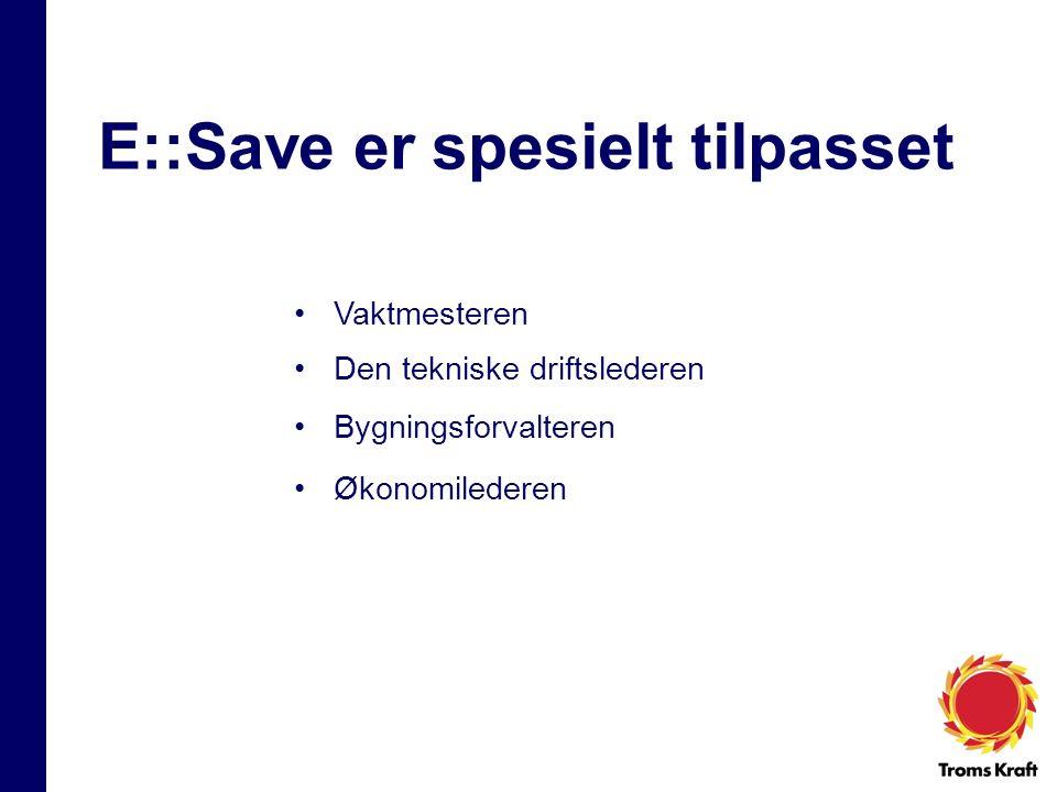 E:SAVE er et WEB-basert verktøy Energimålere i bygget E::Save Måledatabase PC med adgang til internett www
