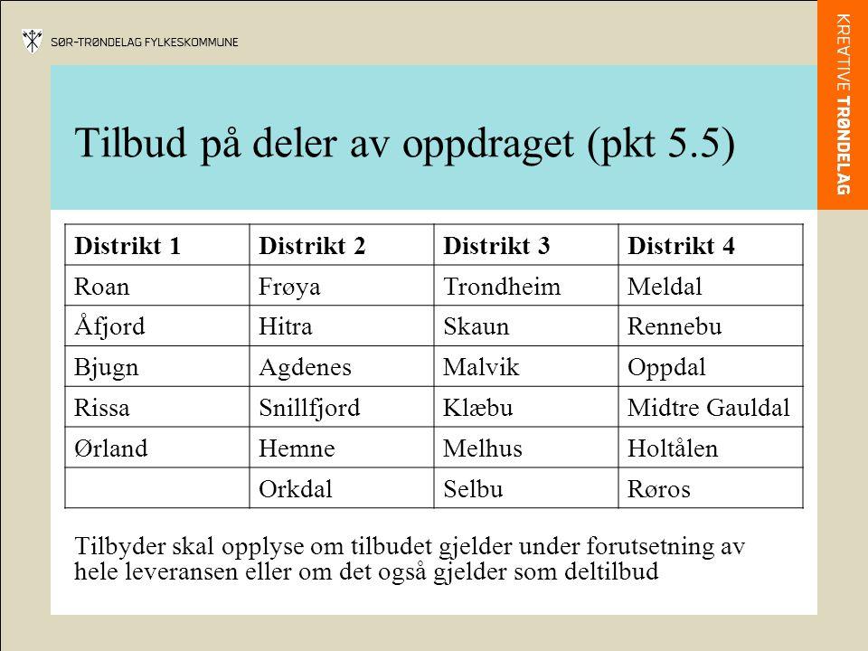 Tilbud på deler av oppdraget (pkt 5.5) Distrikt 1Distrikt 2Distrikt 3Distrikt 4 RoanFrøyaTrondheimMeldal ÅfjordHitraSkaunRennebu BjugnAgdenesMalvikOppdal RissaSnillfjordKlæbuMidtre Gauldal ØrlandHemneMelhusHoltålen OrkdalSelbuRøros Tilbyder skal opplyse om tilbudet gjelder under forutsetning av hele leveransen eller om det også gjelder som deltilbud