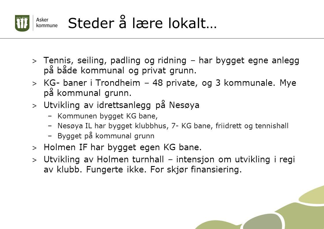 Steder å lære lokalt… > Tennis, seiling, padling og ridning – har bygget egne anlegg på både kommunal og privat grunn. > KG- baner i Trondheim – 48 pr