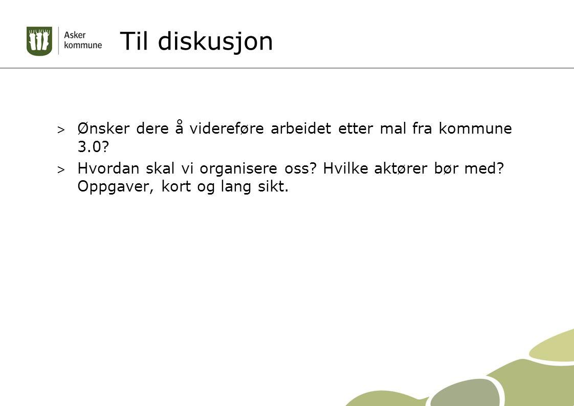 Til diskusjon > Ønsker dere å videreføre arbeidet etter mal fra kommune 3.0.