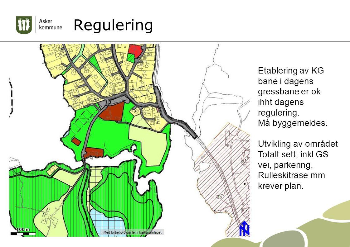 Regulering Etablering av KG bane i dagens gressbane er ok ihht dagens regulering. Må byggemeldes. Utvikling av området Totalt sett, inkl GS vei, parke