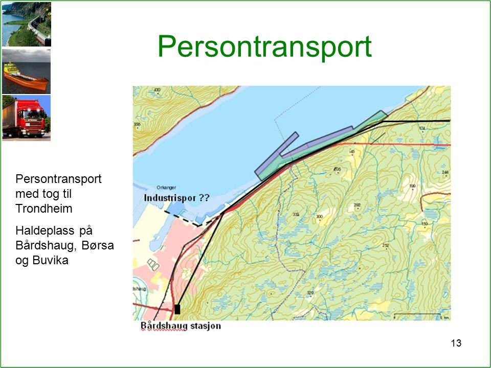 13 Persontransport Persontransport med tog til Trondheim Haldeplass på Bårdshaug, Børsa og Buvika