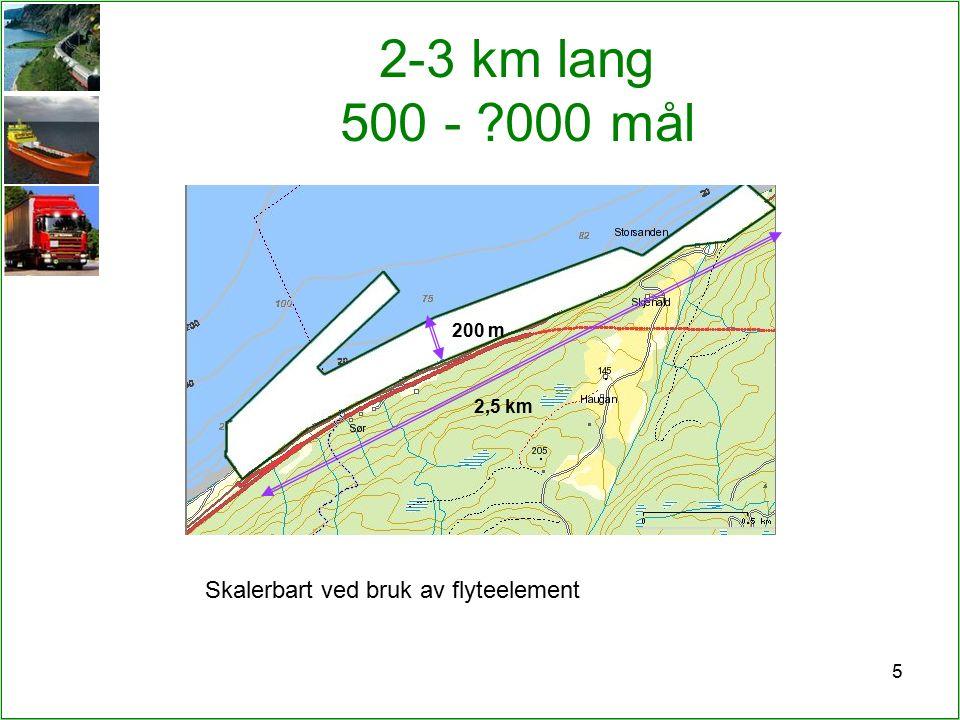 5 2-3 km lang 500 - 000 mål 200 m 2,5 km Skalerbart ved bruk av flyteelement