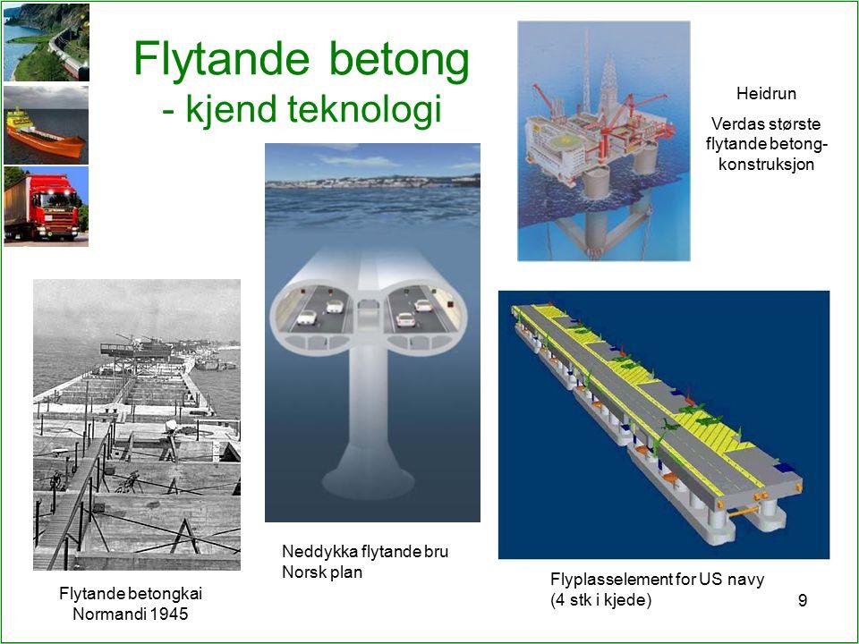 9 Flytande betong - kjend teknologi Heidrun Verdas største flytande betong- konstruksjon Flytande betongkai Normandi 1945 Flyplasselement for US navy (4 stk i kjede) Neddykka flytande bru Norsk plan