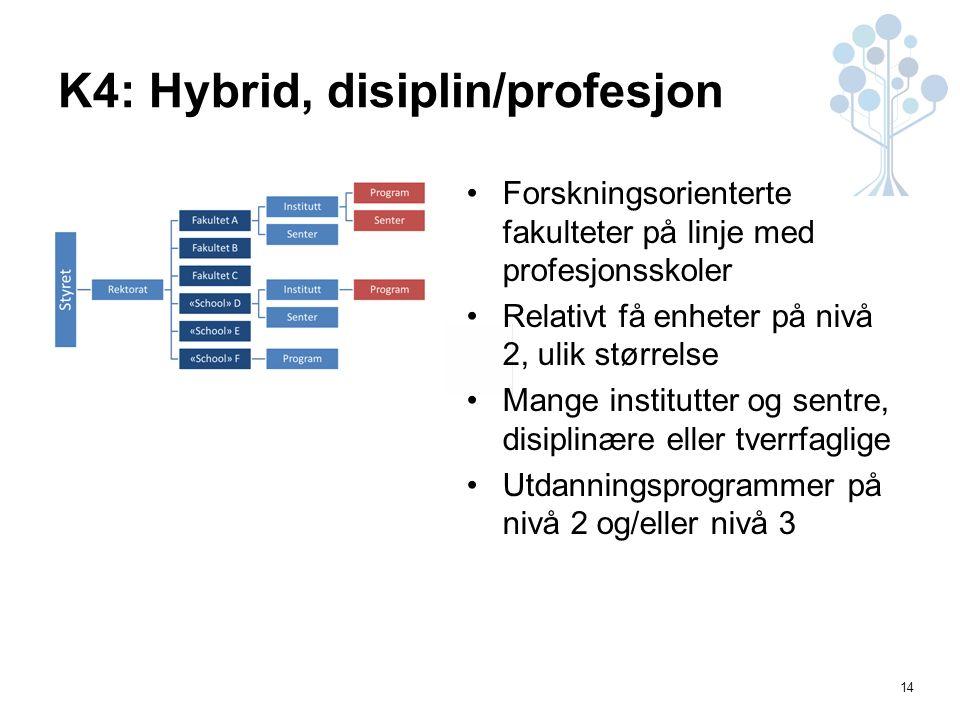 14 K4: Hybrid, disiplin/profesjon Forskningsorienterte fakulteter på linje med profesjonsskoler Relativt få enheter på nivå 2, ulik størrelse Mange institutter og sentre, disiplinære eller tverrfaglige Utdanningsprogrammer på nivå 2 og/eller nivå 3