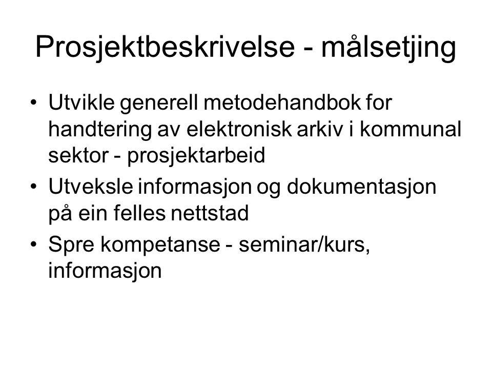 Prosjektbeskrivelse - målsetjing Utvikle generell metodehandbok for handtering av elektronisk arkiv i kommunal sektor - prosjektarbeid Utveksle informasjon og dokumentasjon på ein felles nettstad Spre kompetanse - seminar/kurs, informasjon