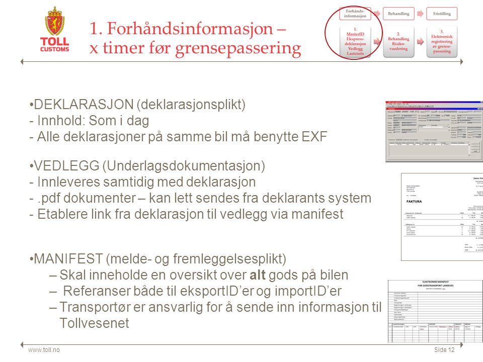 1. Forhåndsinformasjon – x timer før grensepassering DEKLARASJON (deklarasjonsplikt) - Innhold: Som i dag - Alle deklarasjoner på samme bil må benytte