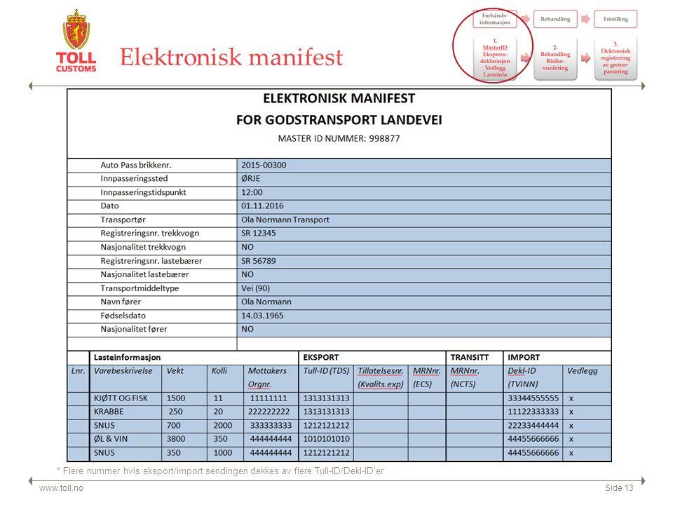 Elektronisk manifest www.toll.noSide 13 * Flere nummer hvis eksport/import sendingen dekkes av flere Tull-ID/Dekl-ID'er