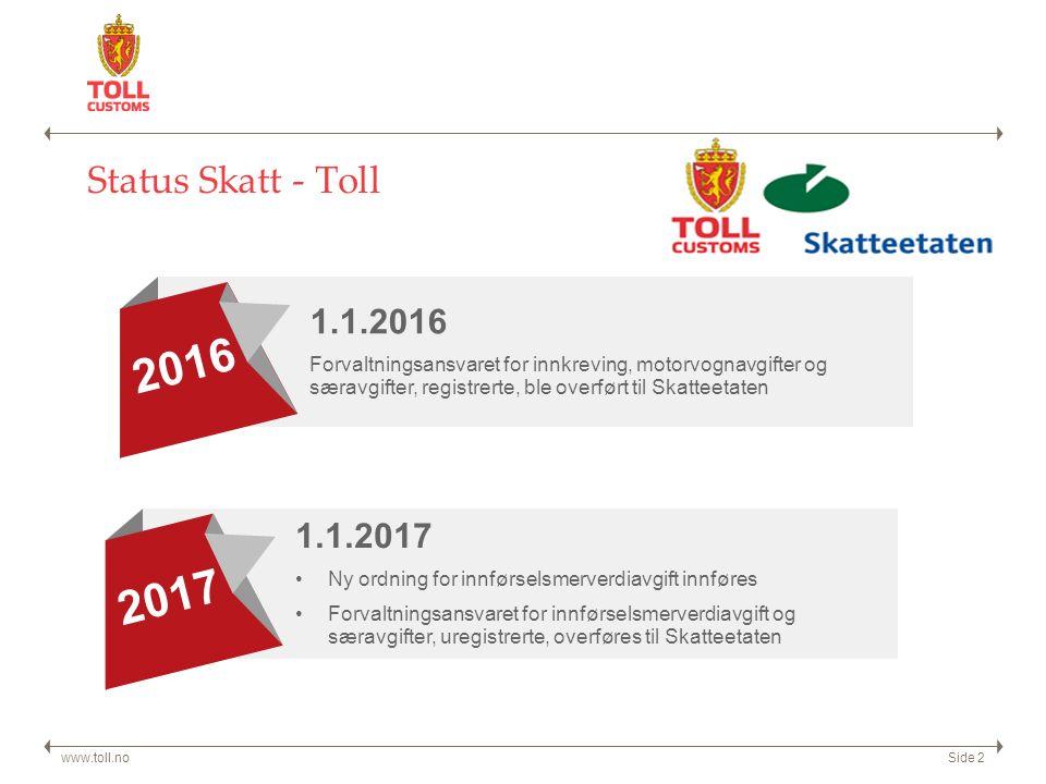 Status Skatt - Toll www.toll.noSide 2 1.1.2016 Forvaltningsansvaret for innkreving, motorvognavgifter og særavgifter, registrerte, ble overført til Skatteetaten 2016 1.1.2017 Ny ordning for innførselsmerverdiavgift innføres Forvaltningsansvaret for innførselsmerverdiavgift og særavgifter, uregistrerte, overføres til Skatteetaten 2017