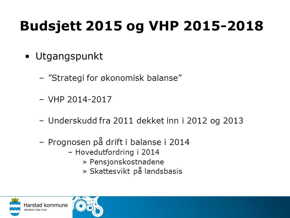 Utgangspunkt – Strategi for økonomisk balanse –VHP 2014-2017 –Underskudd fra 2011 dekket inn i 2012 og 2013 –Prognosen på drift i balanse i 2014 –Hovedutfordring i 2014 »Pensjonskostnadene »Skattesvikt på landsbasis